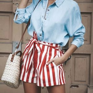 <LAST>High Waisted Red White Striped Tie Shorts